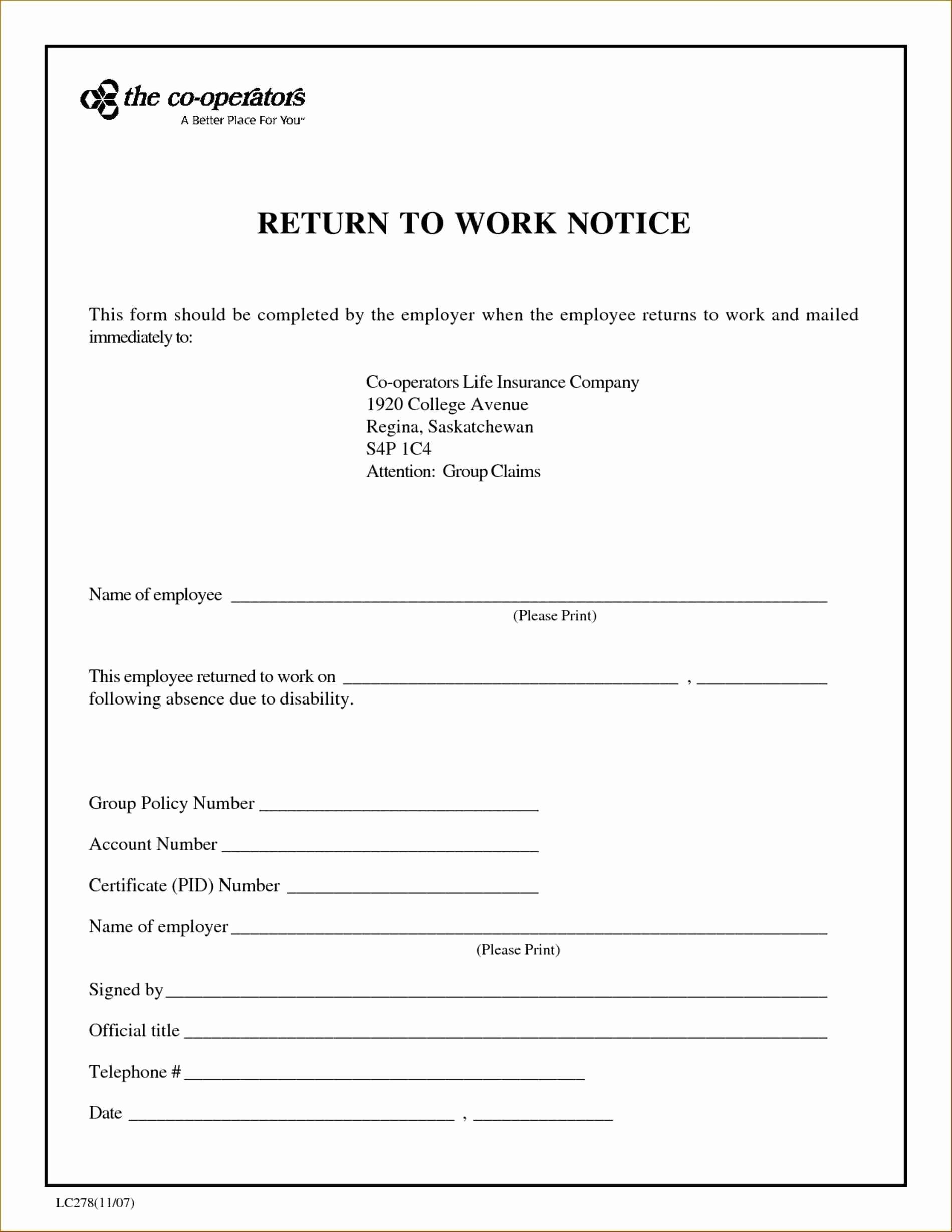 Dr Notes for Work Template New Return to Work Doctors Note Template