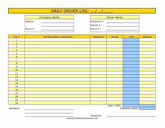 Driver Log Sheet Template Inspirational Driver Timesheet Printable Time Sheets Free to