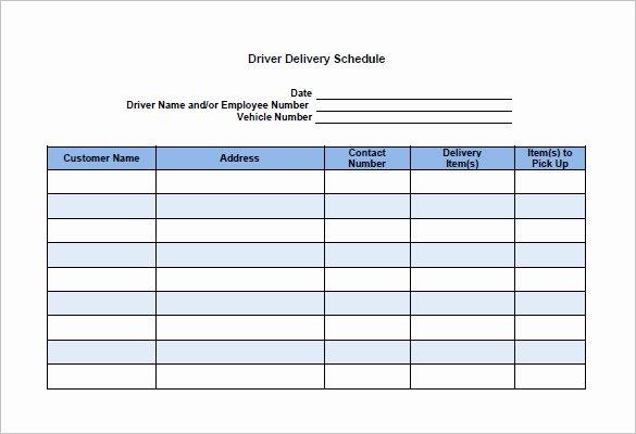 Driver Log Sheet Template Unique 15 Delivery Schedule Templates Docs Pdf Excel