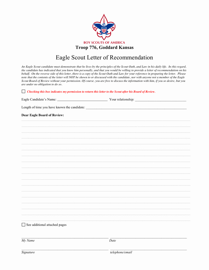 Eagle Scout Recommendation Letter Template Awesome Eagle Scout Reference Letter Template In Word and Pdf