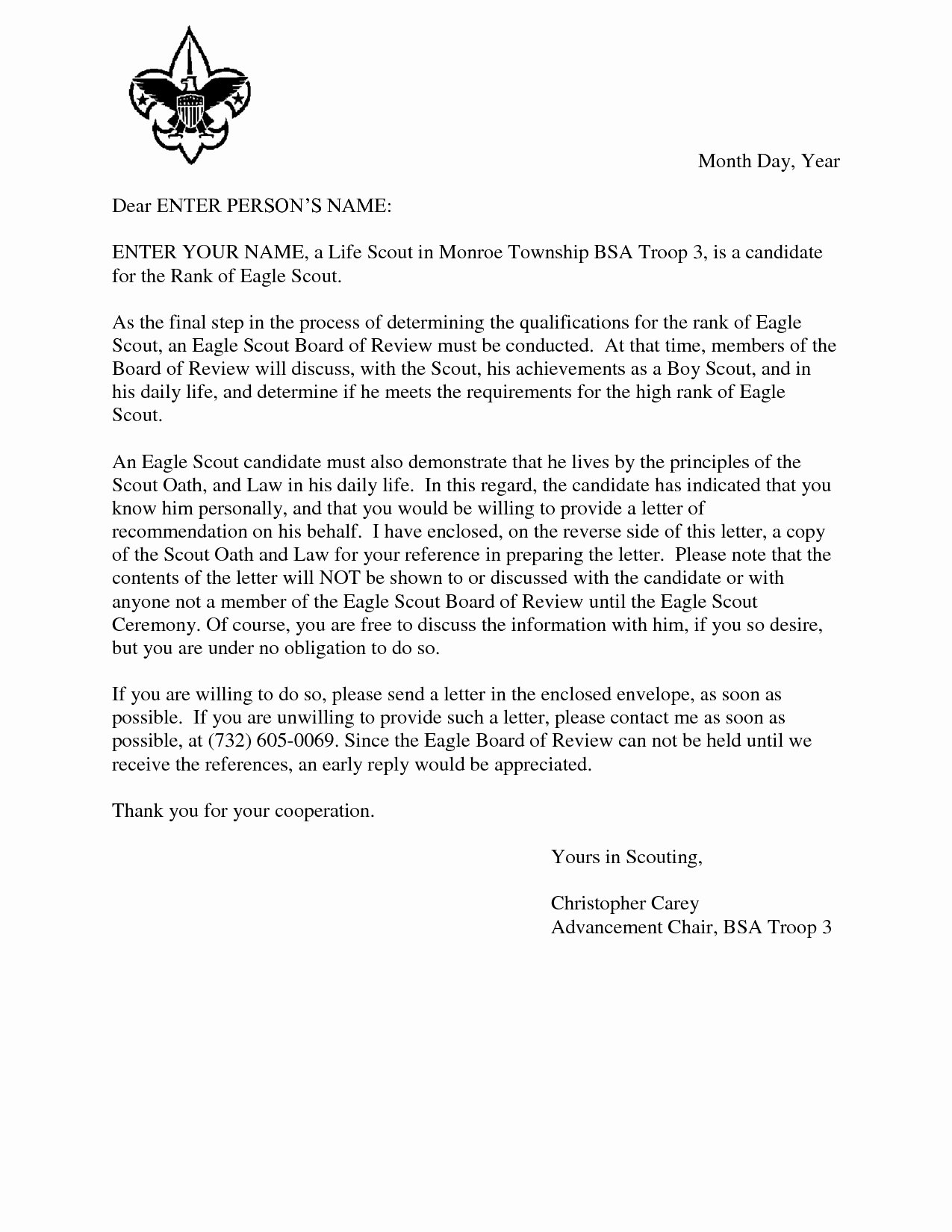 Eagle Scout Recommendation Letter Template Fresh Boy Scout Donation Letter Template Samples