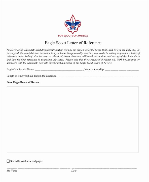 Eagle Scout Recommendation Letter Template Inspirational 12 Sample Eagle Scout Re Mendation Letter Templates