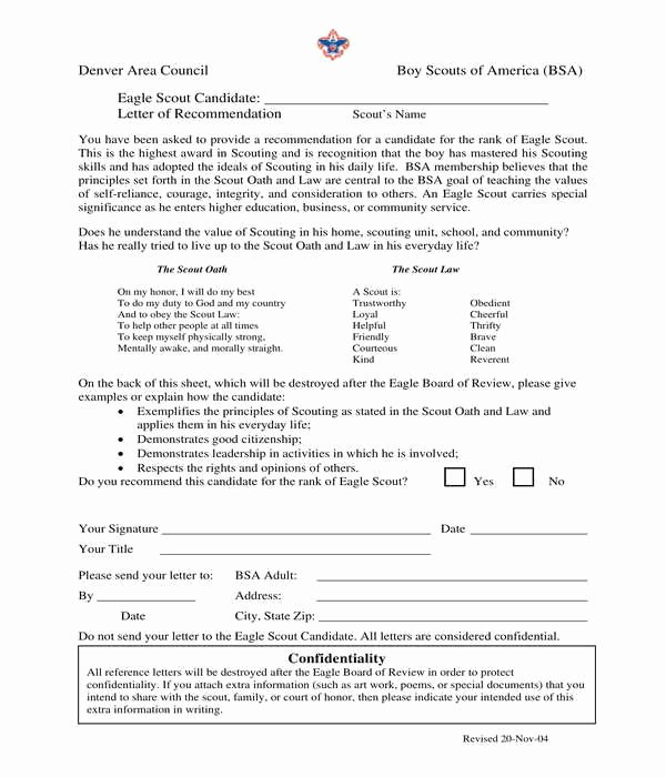 Eagle Scout Recommendation Letter Template New 5 Eagle Scout Letter Of Re Mendation forms Pdf Doc