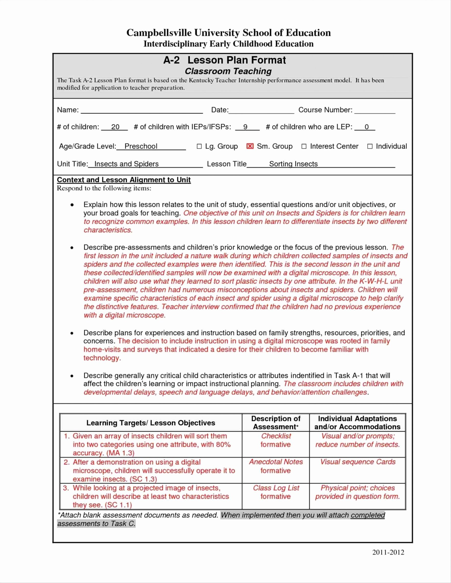 Early Childhood Lesson Plan Template Awesome Edtpa Task One Lesson Planning Template Early Childhood
