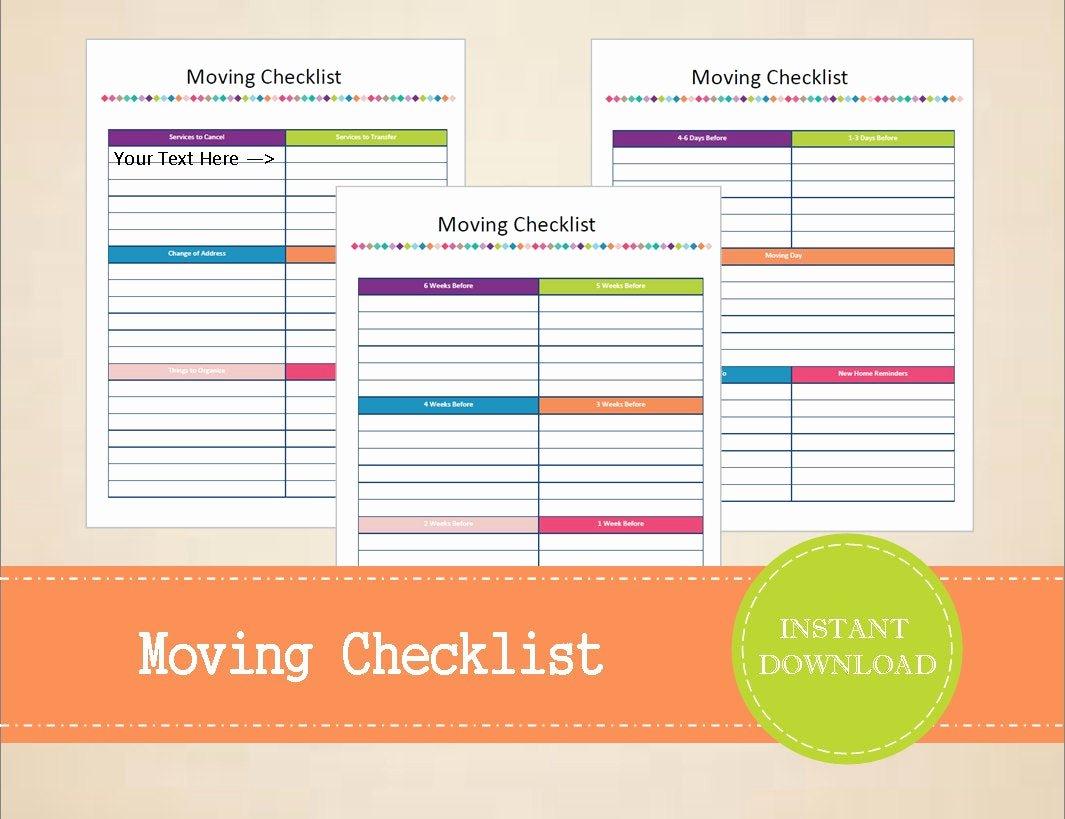 Editable Checklist Template Word Beautiful Moving Checklist Moving Planner Printable and Editable