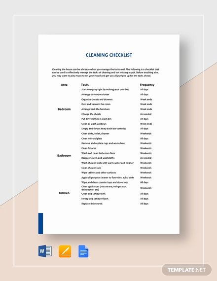 Editable Checklist Template Word Best Of Free Cleaning Checklist Template Download 157 Checklists