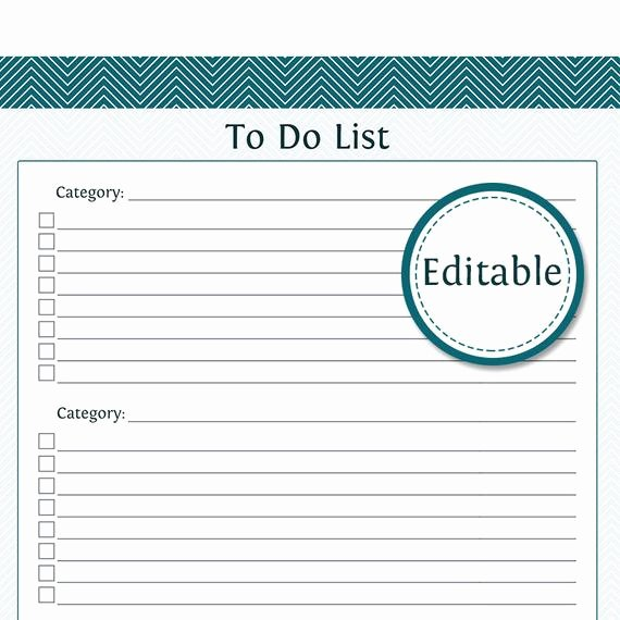 Editable Checklist Template Word Elegant to Do List with Categories Fillable Productivity Printable