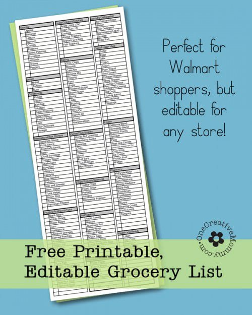 Editable Checklist Template Word New Freebie Friday Printable Grocery List Onecreativemommy