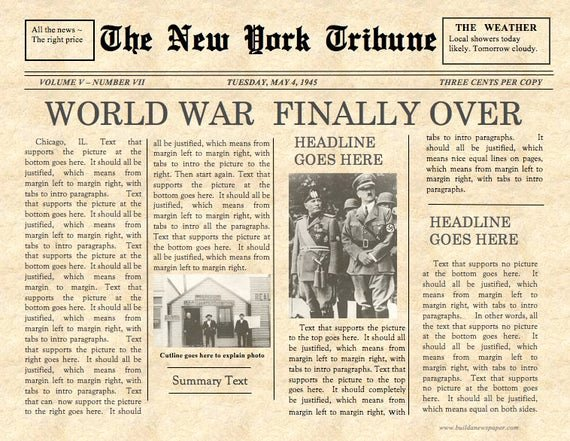 Editable Old Newspaper Template Awesome Vintage Front Page Newspaper Template Instant Download for