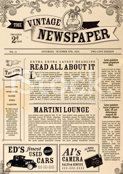 Editable Old Newspaper Template Best Of Vector Illustration Of A Front Page Of An Old Newspaper