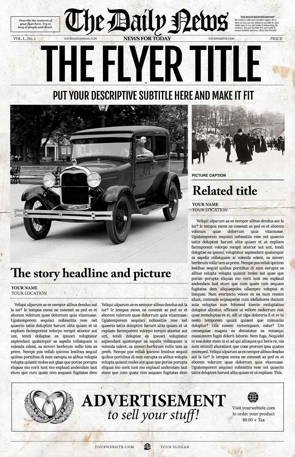 Editable Old Newspaper Template Luxury 1 Page Newspaper Template Ai Flyer Templates Creative