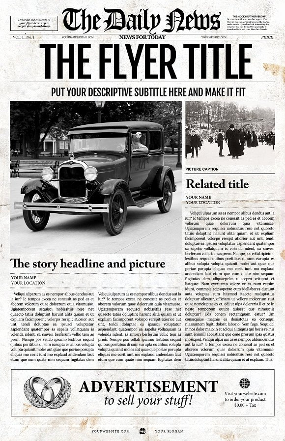 Editable Old Newspaper Template Unique Old Fashioned Editable News Template Flyer Templates
