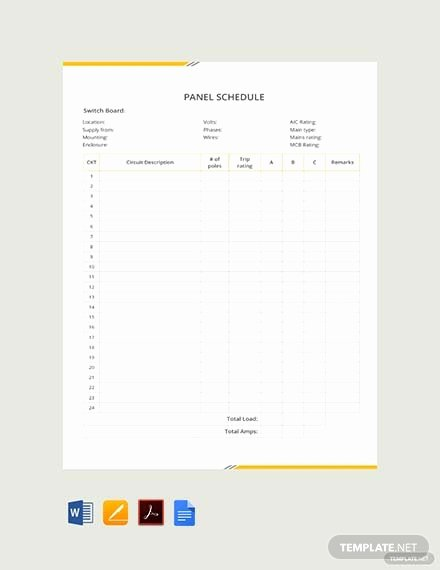 Electric Panel Schedule Template Inspirational Free Electrical Panel Schedule Template Download 173