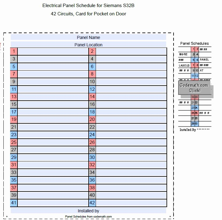 Electric Panel Schedule Template New 5 Free Panel Schedule Templates In Ms Word and Ms Excel
