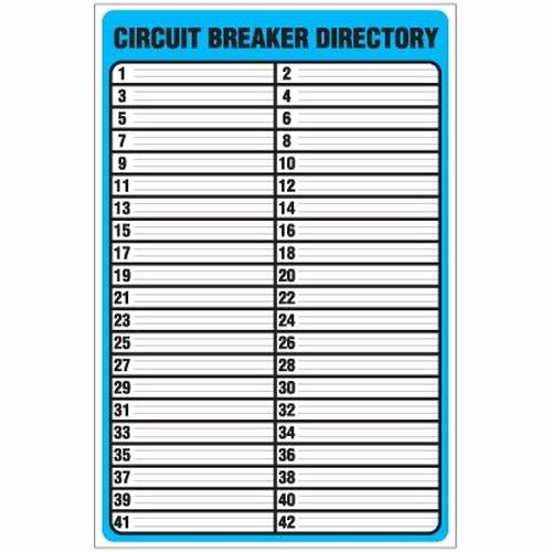 Electrical Panel Directory Template Fresh Circuit Breaker Directory