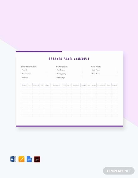 Electrical Panel Schedule Template Excel Luxury Free Electrical Panel Schedule Template Download 173