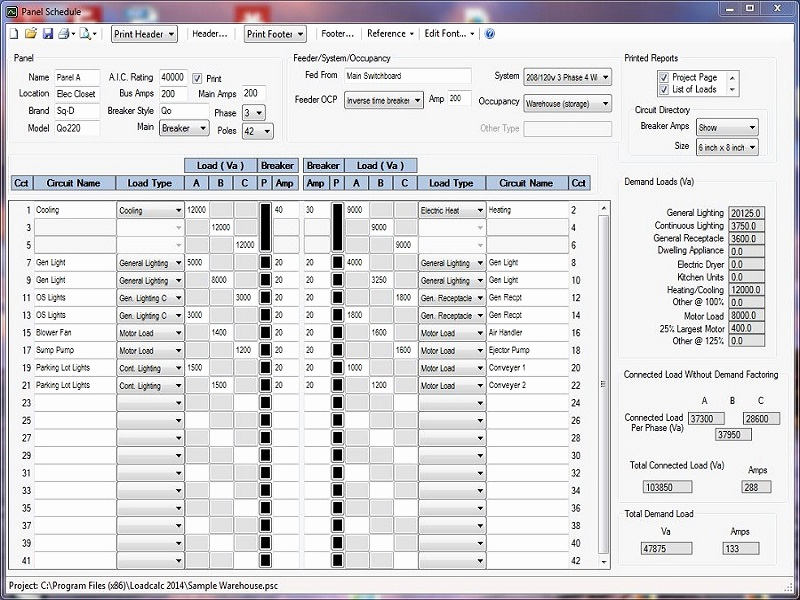Electrical Panel Schedule Template Excel New Loadcalc 2014 Panel Schedule Free Download Loadcalc 2014