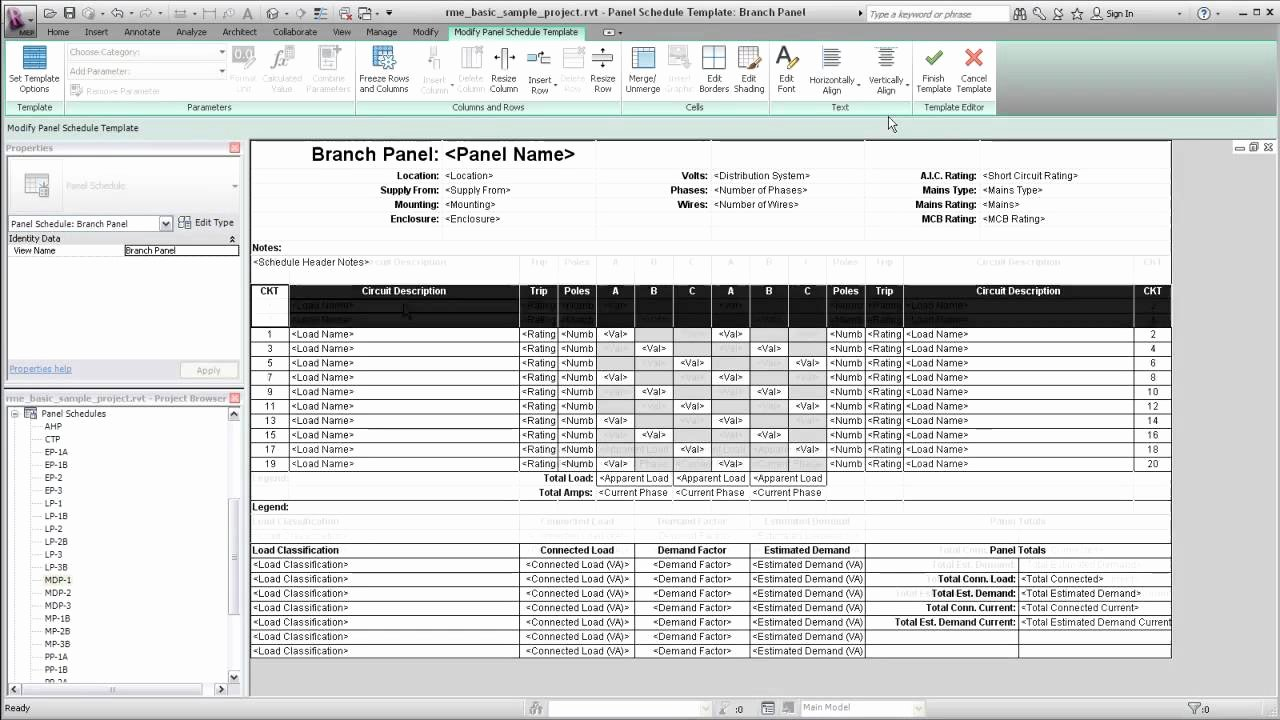 Electrical Panel Schedule Template Fresh Autodesk Revit Mep Panel Schedule Templates