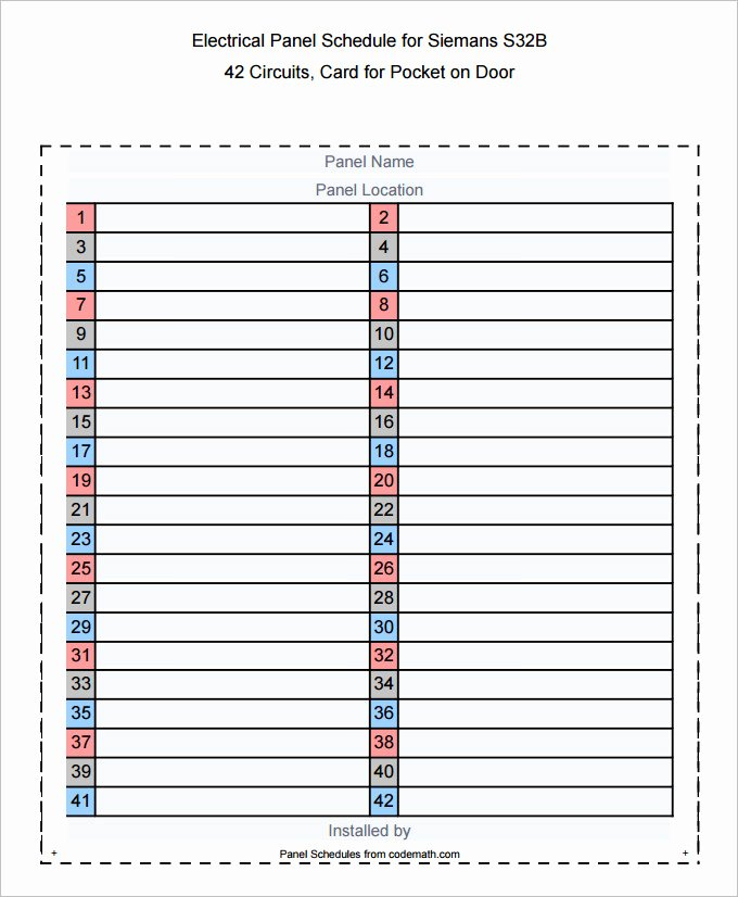 Electrical Panel Schedule Template Fresh Circuit Breaker Panel Schedule Template to Pin On