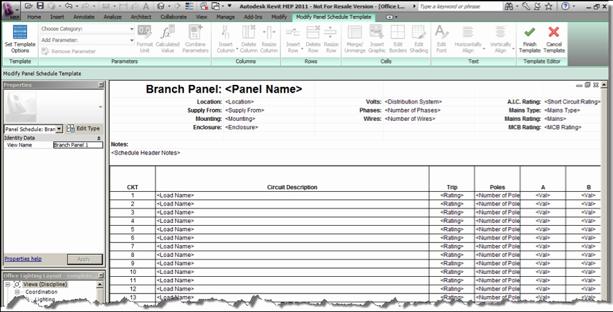 Electrical Panel Schedule Template Lovely Ideate solutions Revit Mep Tip Single Column Panel