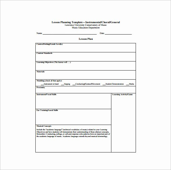 Elementary Music Lesson Plan Template Beautiful Music Lesson Plan Template 7 Free Word Excel Pdf