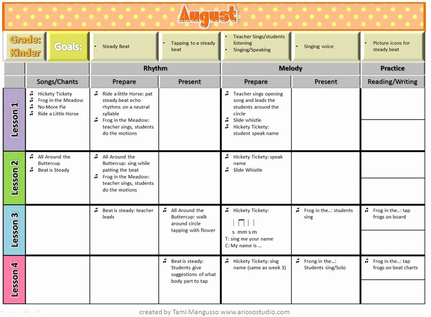Elementary Music Lesson Plan Template Elegant Free Download K 4 Yearly Curriculum Plan Arioso Studio