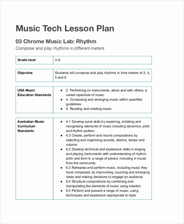 Elementary Music Lesson Plan Template Inspirational Free 62 Lesson Plan Examples & Samples In Google Docs