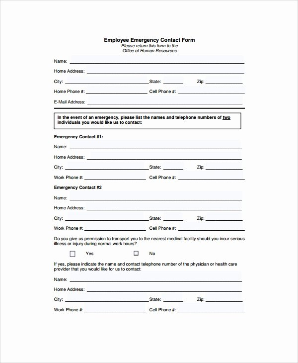 Emergency Contact form Template Word Awesome 8 Emergency Contact form Samples Examples Templates