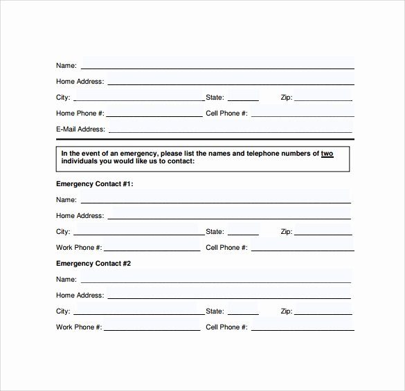 Emergency Contact form Template Word Awesome Emergency Contact forms 11 Download Free Documents In