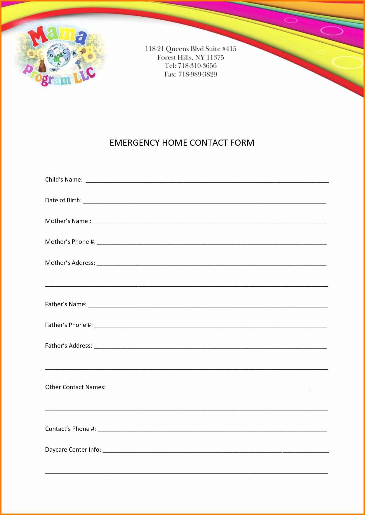 Emergency Contact form Template Word Awesome Emergency Contact Template