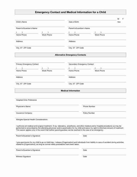Emergency Contact form Template Word Awesome Printable Emergency Contact form Template
