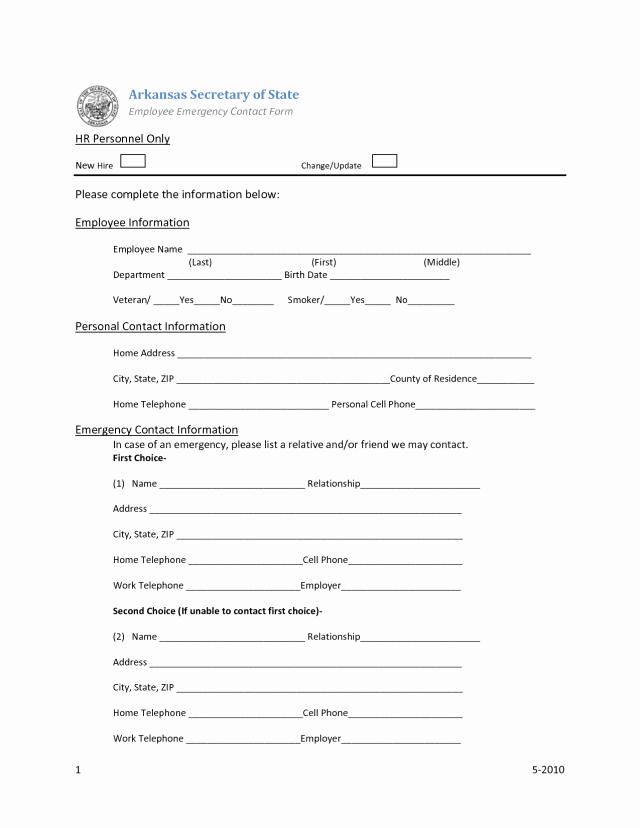 Emergency Contact form Template Word Beautiful Employee Emergency Contact forms Find Word Templates