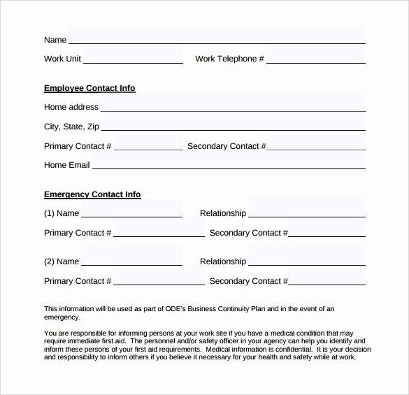 Emergency Contact form Template Word Beautiful Singtrust Blog
