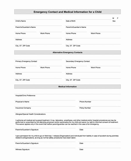 Emergency Contact form Template Word Best Of Best S Of Medical Fice forms Templates Free