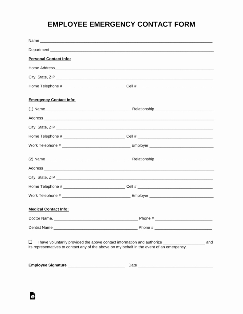 Emergency Contact form Template Word Elegant Free Employee Emergency Contact form Pdf Word