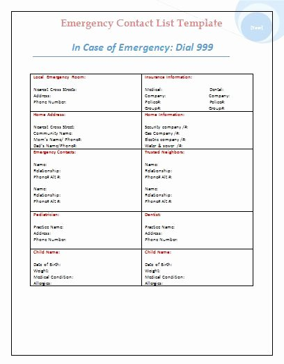 Emergency Contact form Template Word Elegant Templates On Pinterest