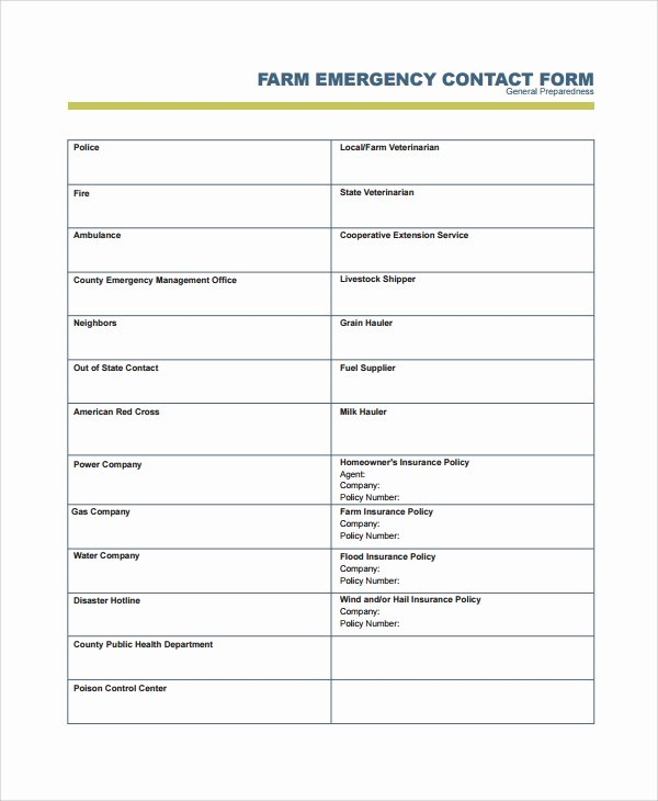 Emergency Contact form Template Word Fresh 8 Emergency Contact form Samples Examples Templates