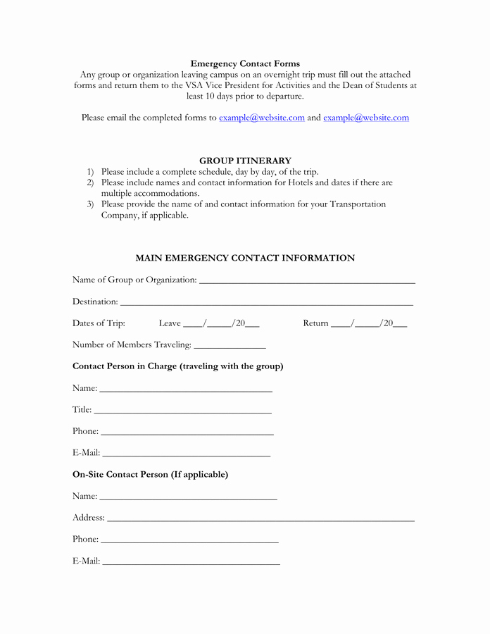 Emergency Contact form Template Word Fresh Emergency Contact form Free Documents for Pdf
