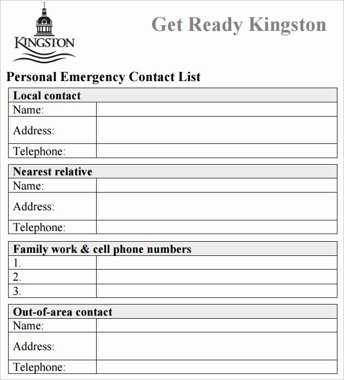 Emergency Contact form Template Word Inspirational Contact List Template 4 Free Word Pdf Documents