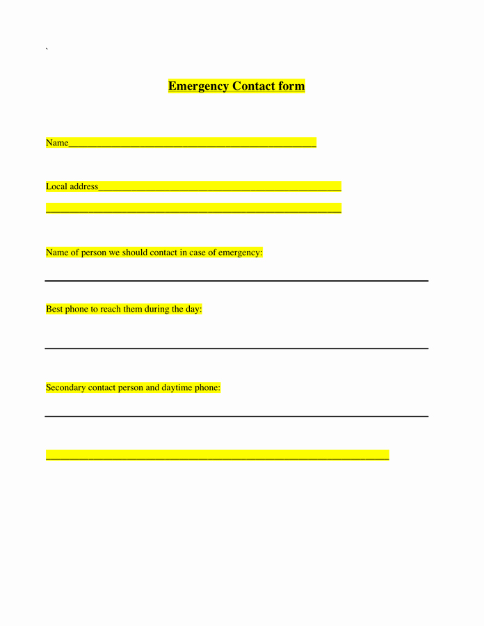 Emergency Contact form Template Word Inspirational Emergency Contact form Template In Word and Pdf formats