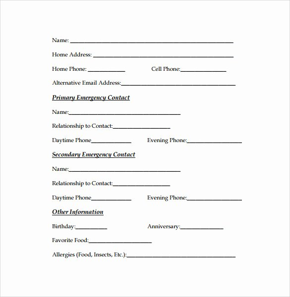 Emergency Contact form Template Word Inspirational Emergency Contact forms 11 Download Free Documents In
