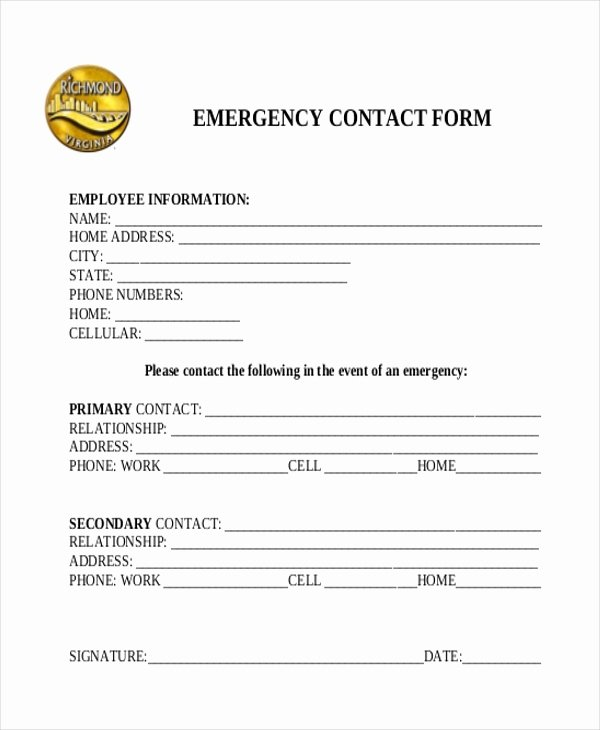 Emergency Contact form Template Word Inspirational Free 11 Sample Emergency Contact forms In Pdf