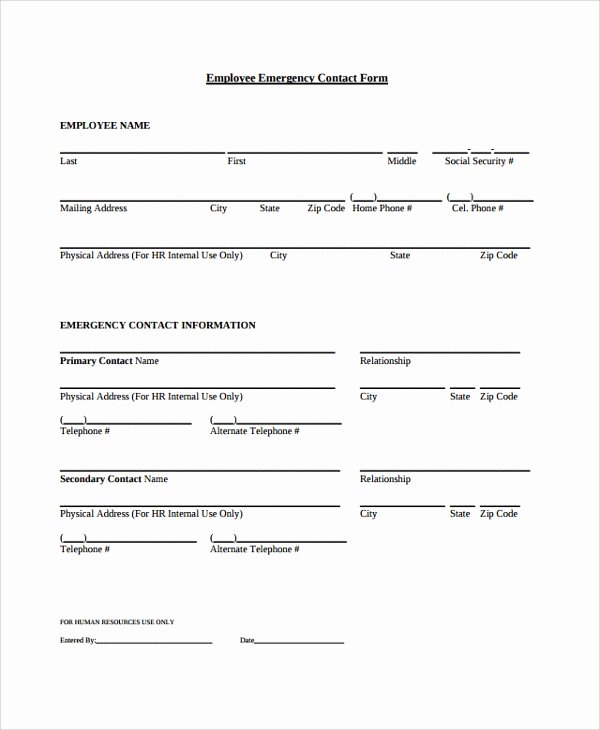 Emergency Contact form Template Word Lovely Sample Contact form 8 Documents In Pdf Word