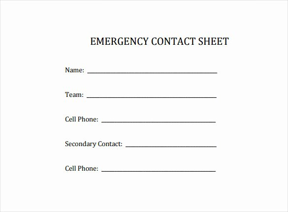 Emergency Contact form Template Word Luxury Contact Sheet Template 16 Free Excel Documents Download