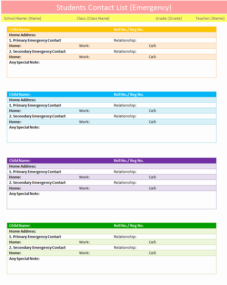 Emergency Contact form Template Word Luxury Students Contact List Template Emergency Dotxes