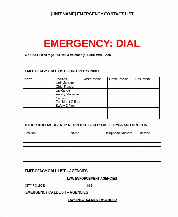 Emergency Contact form Template Word Luxury Word List Template 8 Free Word Documents Download