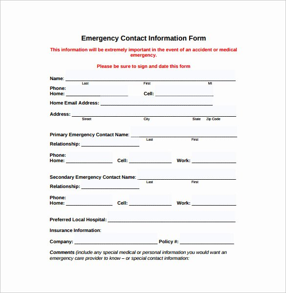 Emergency Contact form Template Word New Emergency Contact forms 11 Download Free Documents In