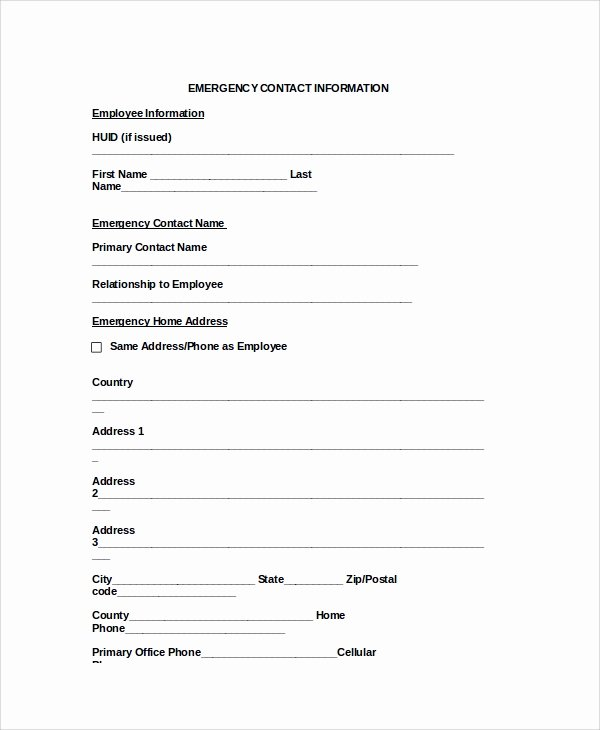 Emergency Contact form Template Word Unique 8 Emergency Contact form Samples Examples Templates