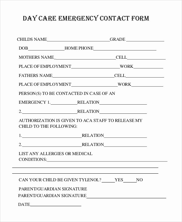 Emergency Contact form Template Word Unique 8 Sample Emergency Contact forms Pdf Doc