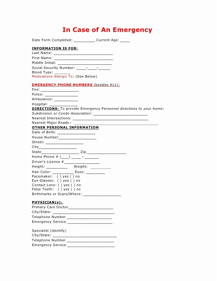 Emergency Contact form Template Word Unique In Case Of Emergency form